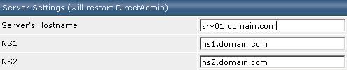 DirectAdmin settings