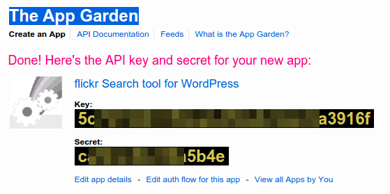 Flickr API key and secret
