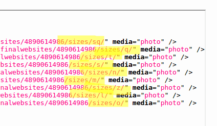 Flickr images sizes example response