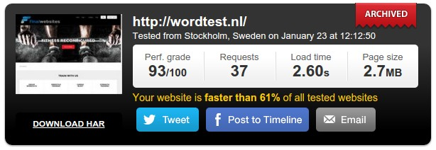 JustFit theme speed test result
